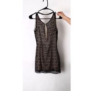 AGAIN black lace mini dress
